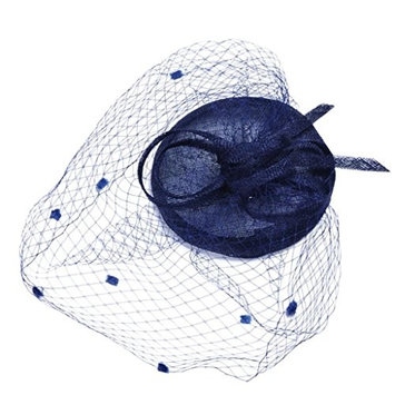 Doinshop Fashion Fascinators Hat Cocktail Tea Party Wedding Headwear Feathers Ribbons Mesh Party Hat (Navy)