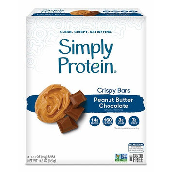 SimplyProtein Crispy Bar Singles. Clean and Light Crispy Bars with Plant Based Protein. (8 Pack, Peanut Butter Chocolate)