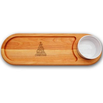 Carved Solutions Everyday Collection Joy-Love-Peace Tree 21-Inch x 7-Inch Dip & Serve Board Set