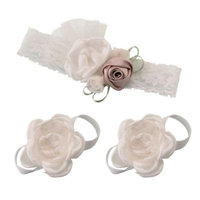 Lillian Rose™ 3-Piece Baby Headband and Barefoot Sandals Set in Ivory