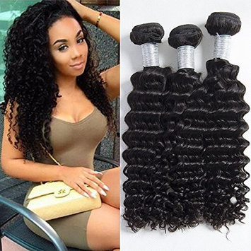 Maxine Brazilian Virgin Hair Deep Curly Wave 4 Bundles 100% Unprocessed 6A Human Hair Extensions Natural Color Mixed Length (18 20 22 22inch)