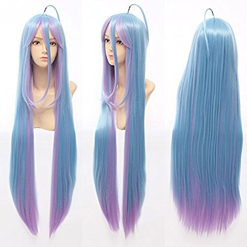 Anogol Hair Cap Cosplay Wigs Long Blue Pink Straight Halloween Party Hair Synthetic Wig