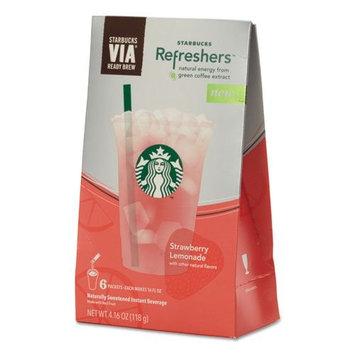Starbucks Refreshers Instant Energy Drink Mix - Strawberry, Lemonade - 16 fl oz - 1/Box - Silver, Pink