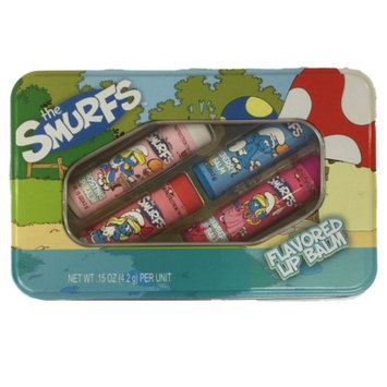 Act Smurfs Flavored Lip Balm Strawberry, Blueberry, Peach, Frosting 4 Pack