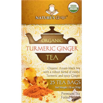 Nature's Guru Organic Whole Leaf Black Tea, Turmeric Ginger, 25 Count Individual Tea Bags [Turmeric Ginger]