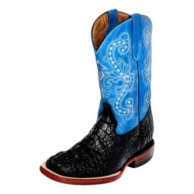 Ferrini Western Boots Boys Kids Crocodile Print Black Blue 70493-13