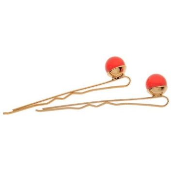 L. Erickson Little Pearl Bobby Pin Pair - Red Coral Pearl/G
