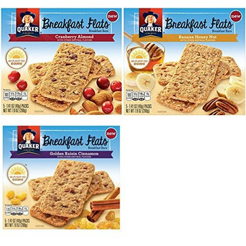 Quaker, Breakfast Flats, Variety Pack, 5 Count (1.41oz Each), 7oz Box (Pack of 3)