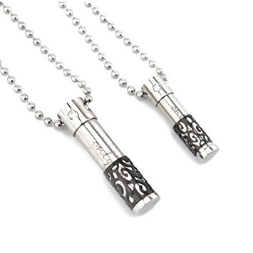 SAMYO Aromatherapy Essential Oil Diffuser Stainless Steel Cylinder Pendant Only Love His and Hers Matching Set With Ball Chain Necklace (2 pcs, Black)