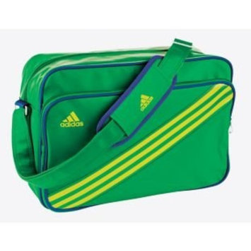 Adidas Enamel Stripe Messenger Bag - Green with 1 external pocket, H28, W41, D16cm, Made from polyurethane.