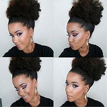 Wrap Drawstring Brazilian Virgin Human Hair Extensions Ponytail Extensions 4b 4c Afro Kinky Curly Top Closure Clip Ins Ponytail Extensions for African American Women 100g/pcs []