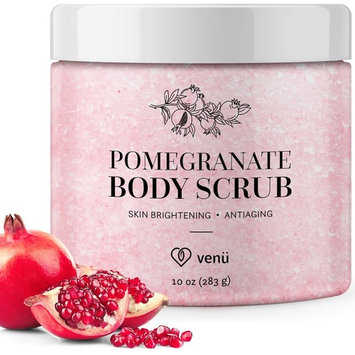 Pomegranate Salt Body Scrub - Daily Exfoliating Treatment to Brighten Skin - Anti-Aging, Anti-Microbial and Anti-Inflammatory Properties - For Varicose and Spider Veins and More - By Venu [Pomegranate]