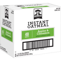 Pepsi Quaker Instant Oatmeal, Apples & Cinnamon, 48 Count