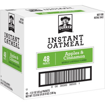Pepsi Quaker Instant Oatmeal, Apples & Cinnamon, 48 Count