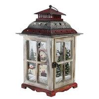 Northlight 17.5' Holiday Snowman Metal and Wood Decorative Christmas Pillar Candle Lantern