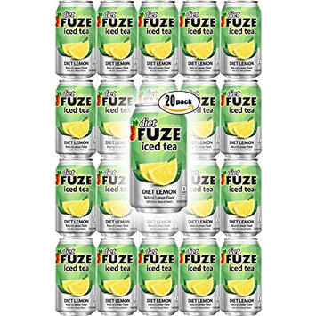 FUZE Diet Lemon Iced Tea, 12oz Can (Pack of 20, Total of 240 Oz)