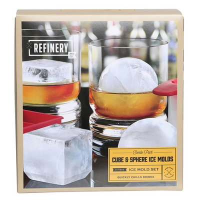 Refinery 2-pc. Cube & Sphere Ice Mold Set One Size Vintage red