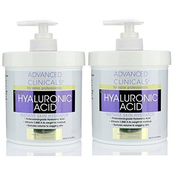 Advanced Clinicals Anti-aging Hyaluronic Acid Cream for face, body, hands. Instant hydration for skin, spa size.