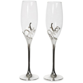 Pavilion Gift Company 85106 Mr and Mrs Champagne Flute Set with Zinc Stem