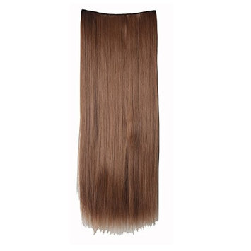 100% Real Soft Synthetic Hairpieces 30inches(76cm) long straight light brown 1Pc with 5Clips Half Full Head Clip In Hair Extension for Elegan Lady