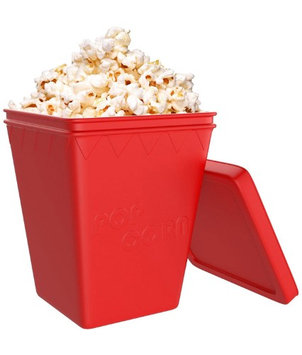 iCooker Microwave Popcorn Popper [Saves Calories] - Premium Quality Silicone - Hot Air Popcorn Better than Machine - Best Popcorn Maker [Red]