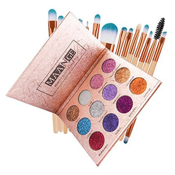 Homyl 12 Colors Glitter Bright Colorful Eyeshadow, Highly Pigmented,Shimmer Pressed Powder Palette With 15Pcs Facial Makeup Cosmetics Blending Brush Tool