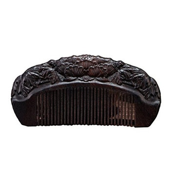 Icegrey Handmade Carved Lotus Sandalwood Wooden Comb Anti-Hair Loss