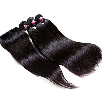 """Ms Cat Hair 8A Grade 100% Brazilian Straight Hair 3 Bundles with Lace Closure Free Part, Virgin Human Hair Weave Extensions for Women Natural Color (16 16 16+14"""", Free Part)"""