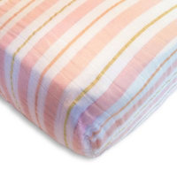 SwaddleDesigns® 3-Color Stripe Muslin Fitted Crib Sheet in Pink