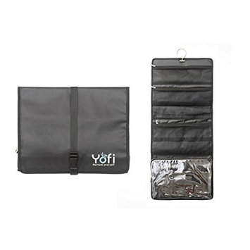 Yofi Nurture yourself Hanging Toiletry Bag Organizer for Cosmetics, Makeup, Jewelry, Toiletries, Shaving Tools in Black Expandable, Polyester Case with Zippers and Sections for Home or Traveling