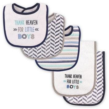 Luvable Friends Navy & Gray 'Thank Heaven for Little Boys' Bib & Burp Cloth Set