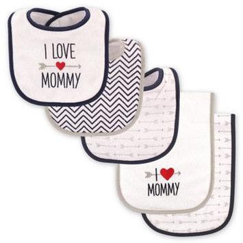 Luvable Friends Navy & Gray 'I Love Mommy' Bib & Burp Cloth Set