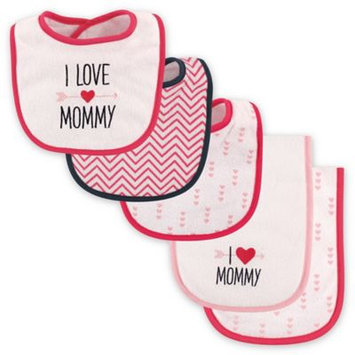 Luvable Friends Pink 'I Love Mommy' Bib and Burp Cloth Set
