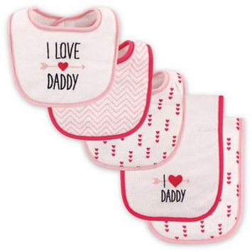 Luvable Friends Pink 'I Love Daddy' Bib and Burp Cloth Set