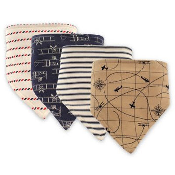 Hudson Baby Brown & Navy Airplane Triangle Bib - Set of Four