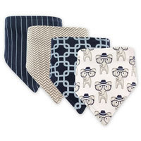 Hudson Baby White Smart Elephant & Navy Lattice Bandana Bib Set