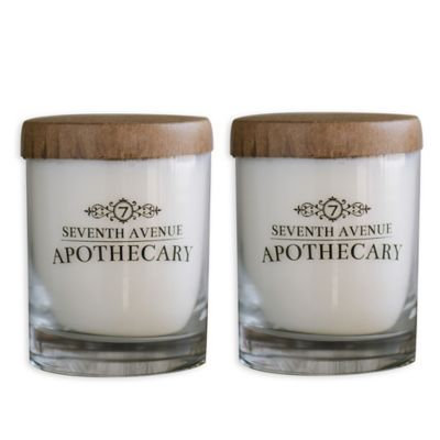 Seventh Avenue Apothecary Tobacco + Vanilla Bourbon and Vetiver + Leather Soy Candles (Set of 2)