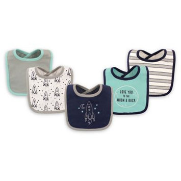 Hudson Baby Navy & Gray 'To The Moon & Back' Drooler Bib Set