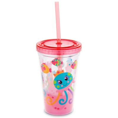 Stephen Joseph 12 oz. Jellyfish Tumbler with Straw in Pink