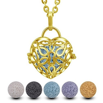 INFUSEU Heart Aromatherapy Necklace Lava Stone Essential Oil Diffuser Cross Locket Pendant Jewelry + 5PCS Lava Rock for Women Meaningful Gift set
