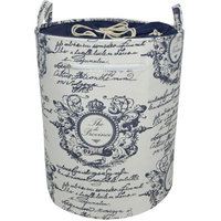 Round Canvas Hamper with Drawstring Top in Blue/White