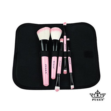 PUEEN 5 Piece Pink Synthetic Hair Travel Makeup Brush Set in Travel Bag - Includes 8 Different Brushes-BH000008