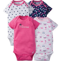 Gerber® ONESIES® Size 12M 4-Pack Princess Short Sleeve Bodysuits