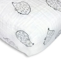 Swaddle Designs® Hedgehog Muslin Fitted Crib Sheet Black/White