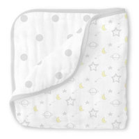 Swaddle Designs® Goodnight Muslin Luxe Blanket in Silver/White