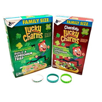Lucky Charms St. Patricks Day Edition Chocolate AND Original Cereal, Family Size INCLUDE Bracelet