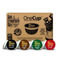 Rogers San Francisco Bay Onecup Variety Pack Coffee - 80 Count Onecup For K-cup Brewer - Caffeinated - Breakfast Blend Rainforest Fog Chaser French Roast (46001)