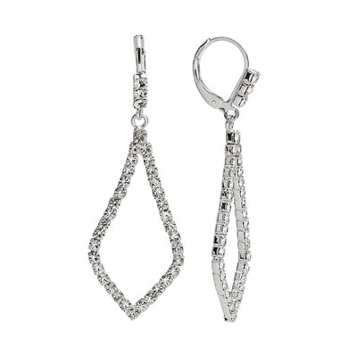 Franco Gia Silver Tone Simulated Crystal Drop Earrings