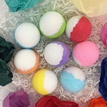 Essential Oil, Cocoa & Shea Butter Bath Bombs Gift Set - Harmony Aromas 8 Large 70 Gram Balls - Relaxing, Moisturizing, Gift Ideas for Mom, Daughter, Sister,...