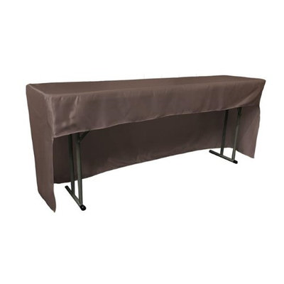 LA Linen TCbridal-OB-fit-96x18x30-CharcoalB34 Open Back Fitted Bridal Satin Classroom Tablecloth Charcoal - 96 x 18 x 30 in.